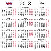 2018 Year Calendar. Simple, Clear And Big. English Language. Week Starts On Monday. Saturday And Sun poster