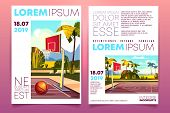 Basketball Tournament Cartoon Promo Brochure Or Invitation Flyer Template With Basketball Ball On Ou poster