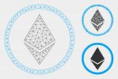 Mesh Ethereum Rounded Model With Triangle Mosaic Icon. Wire Frame Triangular Mesh Of Ethereum Rounde poster