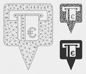 Mesh Euro Atm Pointer Model With Triangle Mosaic Icon. Wire Carcass Triangular Mesh Of Euro Atm Poin poster