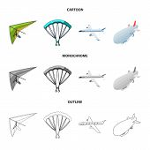 Isolated Object Of Transport And Object Sign. Collection Of Transport And Gliding  Stock Symbol For  poster
