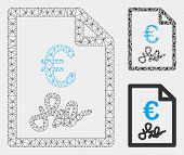 Mesh Euro Invoice Model With Triangle Mosaic Icon. Wire Frame Polygonal Network Of Euro Invoice. Vec poster
