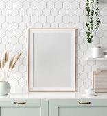 Mock Up Poster Frame In Kitchen Interior, Scandinavian Style, 3d Illustration poster