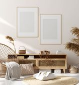 Mock Up Frame In Home Interior Background, Beige Room With Natural Wooden Furniture, Scandinavian St poster