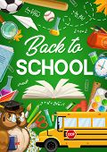 Back To School Green Chalkboard Poster With Owl Teacher, School Bus And Education Supplies. Vector B poster