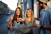 Happy Friends Enjoying Sightseeing Tour In The City poster