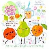 Fresh Smoothie Recipe Cute Kawaii Characters. Fruits Ingredients Glass Jar Vitamin Funny Style. Oran poster