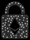 Bright Mesh Ethereum Lock With Glare Effect. Abstract Illuminated Model Of Ethereum Lock Icon. Shiny poster