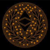 Bright Mesh Ethereum Classic Laurel Coin With Glare Effect. Abstract Illuminated Model Of Ethereum C poster