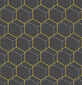 Geometric Abstract Vector Hexagonal Background. Geometric Modern Golden Ornament. Seamless Modern Pa poster