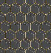 Geometric Abstract Vector Hexagonal Background. Geometric Modern Golden Ornament. Seamless Modern Pa poster