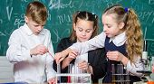 Little Children. Science. Biology Experiments With Microscope. Lab Microscope And Testing Tubes. Che poster