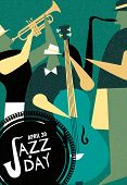 April 30 Jazz Day Retro Poster Illustration Of Live Music Band Playing Diverse Musical Instrument In poster