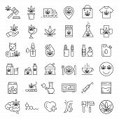 Marijuana Icons. Set Of Medical Cannabis Icons. Drug Consumption. Marijuana Legalization. Isolated V poster