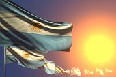 Nice Many Argentina Flags On Sunset Placed Diagonal With Soft Focus And Place For Your Content - Any poster