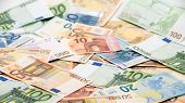 Euros Bills Of Different Values. Euro Bill Of Twenty, Fifty, One, Two, Five Hundred. Cash Banknotes  poster