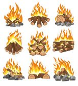 Bonfire Firewood. Vector Natural Campfire For Fireplace, Cartoonoutdoor Firewood With Fire Isolated  poster
