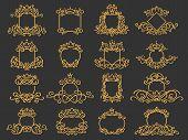 Royal Monogram Frame. Hand Drawn Crown Emblem, Vintage Doodle Sketch Sign And Elegant Monograms. Dec poster