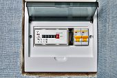 Single Phase Home Electronic Energy Meter Inside Distribution Board With Electrical Circuit Breakers poster