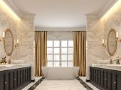 Luxurious Bathroom With White Marble Walls And  Floors, Black Marble Border ,decorated With Black Wo poster