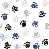 Seamless Pattern With Doodle Dog Paws. Colorful Animal Print. Vector Background. poster