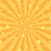 Sunlight Abstract Background. Orange Color Burst Background With Shining Stars. poster