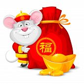 Wish Wealth And Prosperity In Chinese New Year 2020. Cheerful Rat As Symbol Of New 2020 Year With Re poster