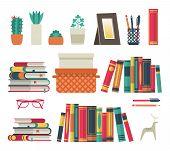Bookshelves Set. Flat Shelf Book In Room Library, Reading Book Office Shelf Wall Interior Study Scho poster