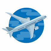 Airplane Flies In The Sky. Airliner. Business Aircraft Jet Aviation. Passenger And Freight Transport poster