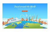 Travel With Famous World Landmarks. Cruise Ship Around The World. Travel And Tourism Concept. Vector poster