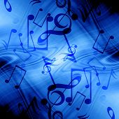 image of musical note  - Blue abstract background with some music notes - JPG