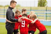 Coaching Youth Sports. Kids Soccer Football Team Huddle With Coach. Children Play Sports Game. Sport poster