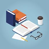 Vector Isometric Reading Books Illustration. Open Book With Reading Glasses, Paper And Pencil. Acade poster