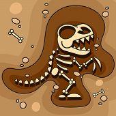 Archeology. Dinosaur Skeleton In Ground. Excavations Of Dinosaur Bones. Archaeological Tools. Vector poster