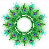 Mandala And Bright Green, Peacock Feathers On A White Background. Design With Bright Feathers. Boho  poster