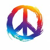 Colorful Peace Symbol, Peace Hippie Symbol On White Background. Vector Illustration. poster