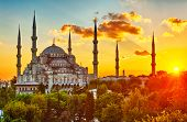 Blue Mosque at beautiful sunset, Istanbul, Turkey. HDR poster