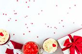 Valentines Day Gift Boxes And Sweets On White Paper With Heart Shape Texture Background poster