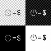 Time Is Money Icon Isolated On Black, White And Transparent Background. Money Is Time. Effective Tim poster