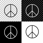 Peace Sign Icon Isolated On Black, White And Transparent Background. Hippie Symbol Of Peace. Vector  poster