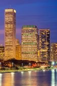 Chicago downtown Cityscape skylines and skyscrapers office building with Lake Michigan sunset in Chi poster