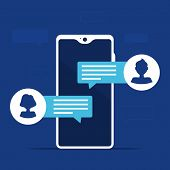 Mobile Phone Chat Message Notifications With Man And Woman Avatar. People Communication. Vector Isol poster