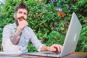Man Looking For Inspiration. Find Topic Write. Bearded Hipster Laptop Surfing Internet. Reporter Jou poster