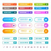 Web Colored Buttons. Internet Ui Flat Elements Menu Colored Buttons Modern Tabs Interface Vector Des poster