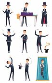 Magician. Male Performer Showmen In Black Costume And White Gloves Magic Tricks Vector Cartoon Chara poster