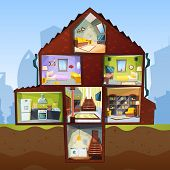 House Cross Section. Room Indoor Bedroom Basement Apartment Interior Vector Cartoon Style Pictures.  poster