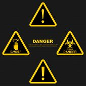 Set Danger Sign. Attention Sign. Exclamation. Hazard Warning Attention Sign poster