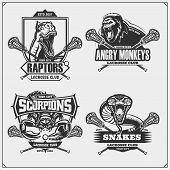 Set Of Lacrosse Badges, Labels And Design Elements. Sport Club Emblems With Lion, Cobra, Raptor Dino poster