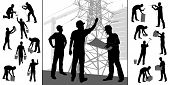 Collection Of Construction Workers Silhouettes. Set Of Different Workers Silhouettes Isolated On Whi poster