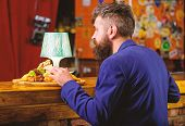 Enjoy Meal. Restaurant Client. Hipster Formal Suit Sit At Bar Counter. Man Received Meal With Fried  poster